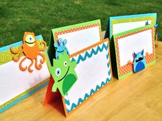MADE TO ORDER Set of 5 Monster Party Food Tents - Customize Your Way