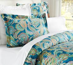 Ana Paisley Duvet Cover & Sham | Pottery Barn I know I just got my new bedding, but this would be a fun alternate!