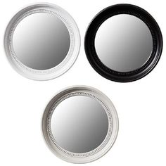 Large Circle Mirror 3 colours. Black, White & Antique Grey. Acrylic Frame 45cm