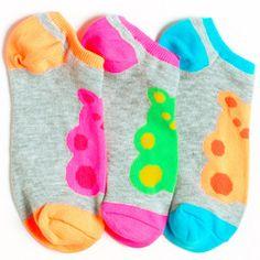 Grey Neon Yummy Bear Smelly Liner Socks from LittleMissMatched