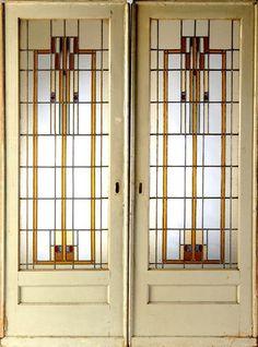 Glass Pocket Doors | 371: PRAIRIE SCHOOL Pair of stained glass pocket doors.