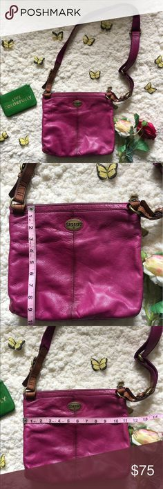 💕Fossil Crossbody Purse💕 💕Great used condition Authentic Fossil Crossbody Purse💕Has 2 compartments on the back of this purse💕Clean inside and outside of this purse💕Corners have very minimal scuffing, please see photos💕Colors are between fuchsia/magenta/purplish💕 Fossil Bags Crossbody Bags
