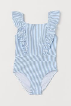 Ruffled Swimsuit - Light blue/striped - Kids | H&M US
