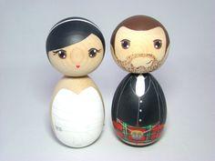 Kokeshi Doll Wedding Cake Toppers Groom in Kilt  Custom Hand Painted