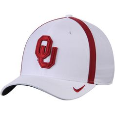 huge selection of aa673 72b84 Men s Nike White Oklahoma Sooners 2017 AeroBill Sideline Swoosh Coaches  Performance Flex Hat