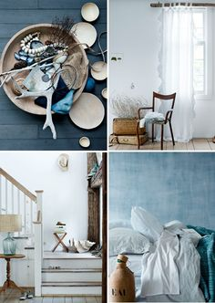 Cool blue, white, and wood country decor