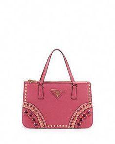 c50b59a3829f Prada Bicolor Saffiano Mini Crystal-Studded Tote Bag