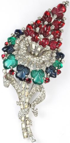 Trifari 'Alfred Philippe' Ruby Sapphire and Emerald Fruit Salads Giant Flower Pin Clip