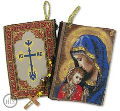 Madonna Caressing the Christ Child Rosary Pouch