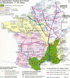 JuliusCaesar conquered Celtic Gaul & incorporated it into the expanding Roman Empire; this is a map of Roman Gaul's division into multiple provinces (imperial & senatorial) French History, Roman History, Ancient Rome, Ancient History, Roman Empire Map, Gaule Romaine, Rome Antique, Roman Roads, Empire Romain