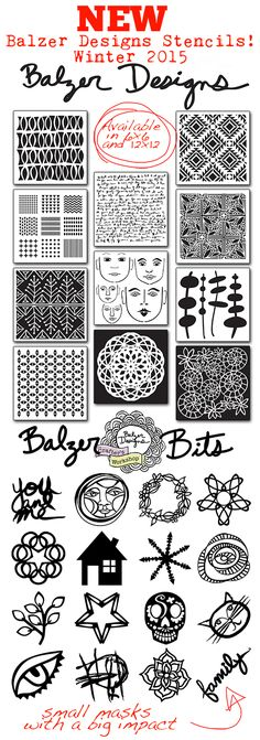 Hi there!  It's Julie!  I'm psyched to show off my new stencil designs! I've been using them in my art journal, on scrapbook pages, on cards, on tags, on fabric...so much fun!  Which of the new des...