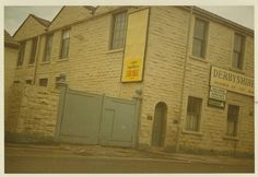 Bata Derbyshire & Blackburn Adlington Textile Mill Chorley Lancashire, Mill Entrance gate and for sale sign c1980, photo courtesy Charles Novotny Family Archive, we have more photos of the looms and employees of this mill, contact BRRC or see website