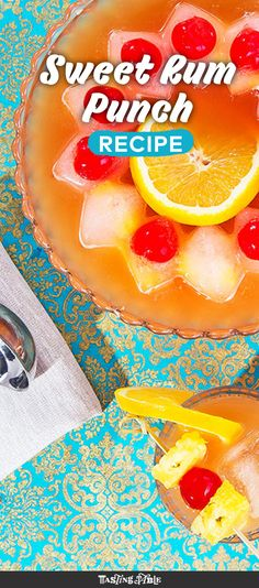 Silver rum, spiced rum and rum liqueur come together to make this fruity rum punch.