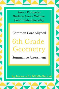 6th Grade Geometry Summative Assessment Updated Version and Additional Resources uploaded 2/18/16.  We have modified and uploaded 4 versions of the Assessment along with 2 Review Packets*****************************************************************************This is a Summative Assessment of the Geometry Standards taught in 6th Grade.