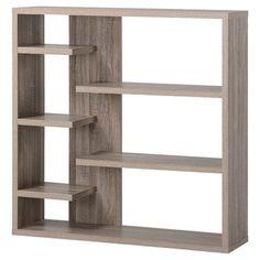 Homestar Wide 6 Shelf Hollow Core Bookcase   Grey Reclaimed Wood