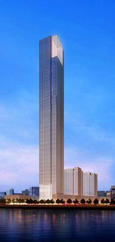 Hengqin Headquarters Tower, Zhuhai, China by GMP Architecten :: 106 floors, height 490m