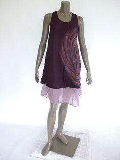 Purple Short sleeveless Cotton Women Dress with by NaniFashion, $35.00