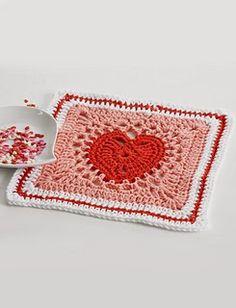 Free Heart Dishcloth: Crochet Pattern