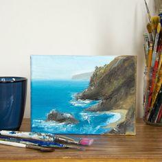 "Monterey Coast Original Oil painting on Canvas 5""x7"""