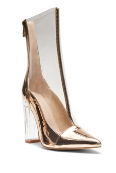 925aee9aebe HerStyle Audrianna Clear Perspex Ankle Boot (Clear Rose Gold)