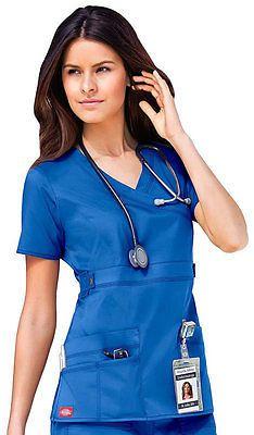 Dickies médica Gen Flex Royal Blue Mock Wrap Top Talla Xs Nuevo Con Etiquetas