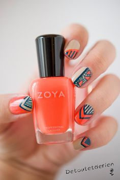 Neon orange tribal nails