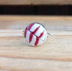 Baseball Ring, Real Baseball ring, womens baseball jewelry, adjustable ring
