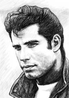 John Travolta---Pencil Drawing---VERY GOOD