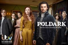 New Promotional Picture of the #Poldark Cast. This promotional picture of the cast features, from left to right: George Warleggan (Jack Farthing), Francis Poldark (Kyle Soller), Elizabeth (Heida Reed), Demelza (Eleanor Tomlinson), Ross (Aidan Turner), Verity Poldark (Ruby Bentall) and Aunt Agatha (Caroline Blakiston) in, I believe, a room in Trenwith, Charles Poldark's home. Poldark will be broadcast on BBC1 in March 2015.