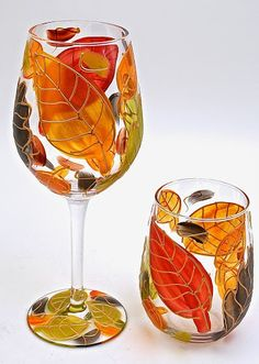 VINTAGE WOODSY LEAVES - Leslie Hand Painted Glass - Picasa Web Albums