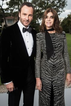 5.21.15  Tom Ford and Carine Roitfeld in Saint Laurent F15 (Look 8) at amfAR Gala at Cannes FF