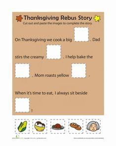 Thanksgiving Kindergarten Comprehension Worksheets: Thanksgiving Rebus Story