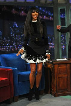 Naomi Campbell wore Pre-Fall 2013 Alexander McQueen at Late Night With Jimmy Fallon in New York.