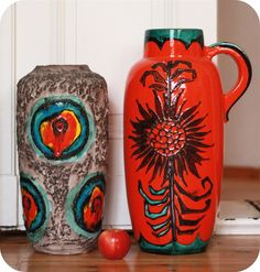 two floor vases from my personal collection of West German Pottery   Scheurich 517-45 and 420-54