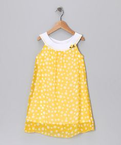 Take a look at this Yellow & White Polka Dot Yoke Dress - Girls by Pink Vanilla on #zulily today!