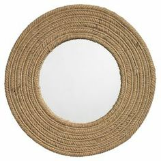"""Handmade jute wall mirror.         Product: Wall mirrorConstruction Material: Natural jute and mirrored glass Color: Natural Features:     HandmadeNautical style  Dimensions: 24"""" Diameter"""