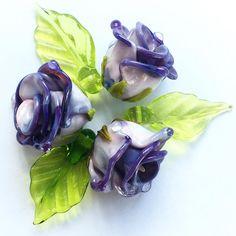 #pendants #necklace #earrings #lampwork #roses #lampwork #glass #gardening #beads #beading #purplerose
