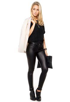 black lace blouse, black leather leggings pants, black boots, white coat cardigan