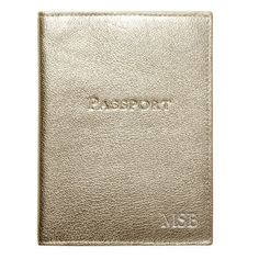 Personalized Metallic White Gold Leather Passport Cover