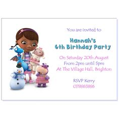 Personalised Invite Birthday Party Invitations Thank You Doc McStuffins