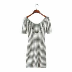Women black white striped backless slim fit dress stretchy short sleeve girl's sheath mujeres faldas casual dresses
