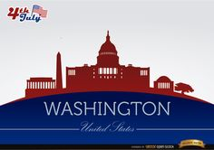 Background of Washington city silhouettes with July 4th commemoration theme with buildings and landmarks in colors of USA flag. High quality JPG included. Under Commons 4.0. Attribution License.