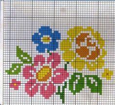agulhas magicas e artes: Gráfico de flores de Ponto Cruz