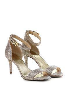 Michael Kors - Sandalo alto - Donna - Sandalo alto in tessuto glitterato con cinturino alla caviglia e suola in gomma. Tacco 80 rifinito. - SILVER\SAND - € 140.00