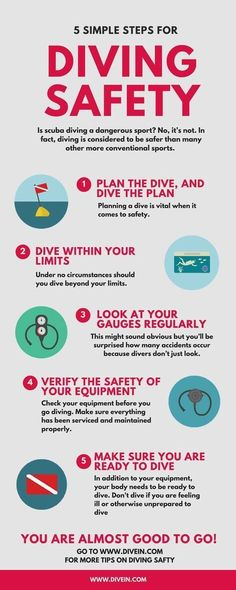 Useful infographic on how to dive safely. #ScubaDivingInfographicsandQuotes #scubadivingquotesunderwater