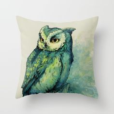Green Owl Throw Pillow by Teagan White. Worldwide shipping available at Society6.com. Just one of millions of high quality products available.