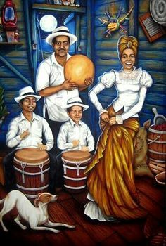 "Puertoricans dancing to the ""Bomba y Plena"", a folkloric music style from Puerto Rico. Puerto Rican Cuisine, Puerto Rican Recipes, Caribbean Culture, Caribbean Art, Art Afro Au Naturel, Puerto Rican Music, Puerto Rican People, Puerto Rico Food, Afrique Art"