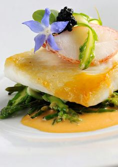 Fillet of brill in lobster sauce - Simon Hulstone. This fillet of brill recipe pairs the underrated fish with a richly flavoured lobster sauce. Asparagus and samphire underscore the seafood with earthy notes and the assembled dish will impress any dinner Fish Recipes, Seafood Recipes, Gourmet Recipes, Cooking Recipes, Fish Dishes, Seafood Dishes, Fish And Seafood, Lobster Sauce, Great British Chefs