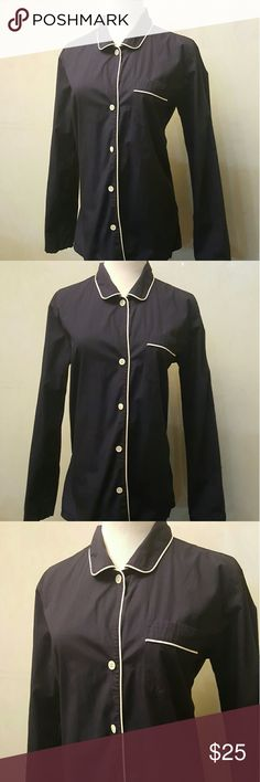 J. Crew navy blouse J.Crew navy blouse with white trip in perfect condition like new, J. Crew Tops Blouses