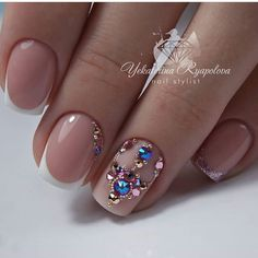 45 Best Nails Decorated with Nail Stickers Page 3 of 45 - Nail Designs & M. Butterfly Nail Designs, Butterfly Nail Art, Colorful Nail Designs, Nail Art Designs, Nail Crystal Designs, Swarovski Nails, Crystal Nails, Bling Nails, Fun Nails